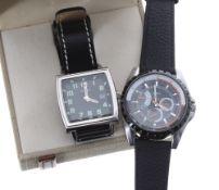 Sekonda Safari square cased stainless steel gentleman's wristwatch, black dial with luminous
