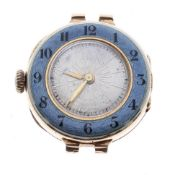 Swiss 9ct and enamel lady's bracelet watch, import hallmarks London 1913, circular silvered dial