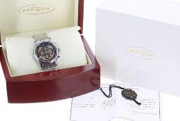 Meridian automatic stainless steel gentleman's bracelet watch, circular black dial with skeleton