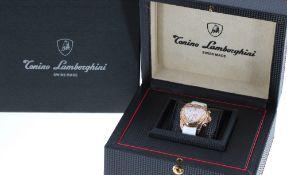 Tonino Lambourghini Feminino Corsa III gold plated chronograph wristwatch, mother of pearl dial,