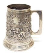 Indian sterling silver cylindrical tankard, relief decorated with a landscape with figures in