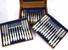 Good Martin, Hall & Co. cased canteen of eighteen mother of pearl handled and silver dessert