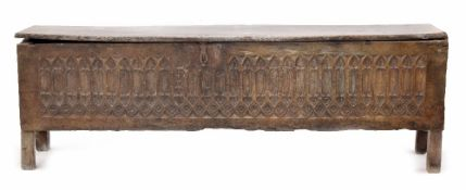 Interesting and rare long boarded oak coffer, probably 16th century and dated '1527',