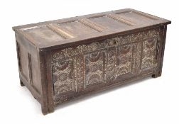 Charles I oak coffer, Derbyshire, circa 1630, the quadruple panelled top opening to reveal a