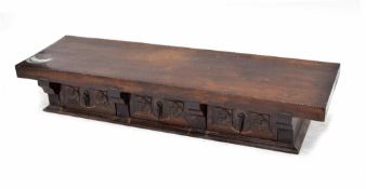 19th century and later unusual oak made up spice cabinet, the later solid thick wooden top over