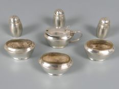 Chinese export silver (0.900) seven piece cruet set complete with four original glass liners,