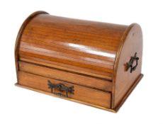 "Edwardian oak domed tambour stationery cabinet, 19"" wide, 11.5"" deep, 10"" high, key"