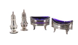 """George V silver salt with blue glass liner, Birmingham 1911, 3.5"""" wide; together with a silver cruet"""