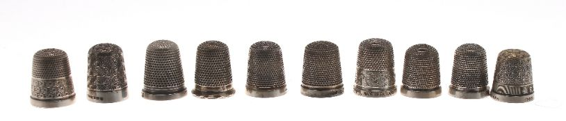 Collection of ten silver thimbles (10)
