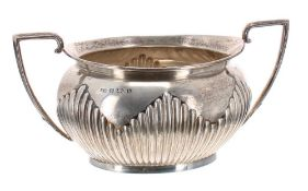 Late Victorian silver half reeded twin-handled sucrier, maker possibly Barker Brothers, Birmingham