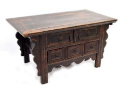 Chinese low side table with parcel polychrome decoration, the plain top over two short and three