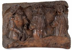 17th/18th century carved oak figural panel, depicting three gentlemen, a guard with two prisoners,