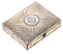 Asprey planished silver-gilt pill/trinket box, the hinged top with engraved monogram, stamped '
