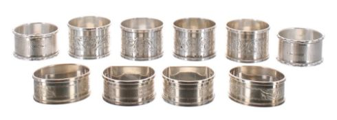 Collection of ten assorted silver napkin rings, all 20th Century assayed Birmingham, 5.5oz t (10)