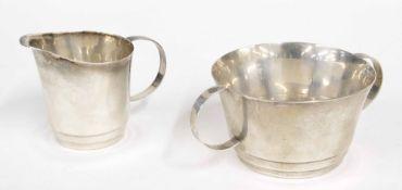 "Art Deco silver sucrier and cream jug, sucrier 3.75"" diameter, 2"" high, maker Stanley Walker trading"