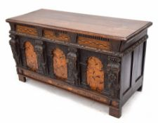 Rare Elizabeth I and later oak inlaid coffer, the planked moulded top opening to reveal a candle box