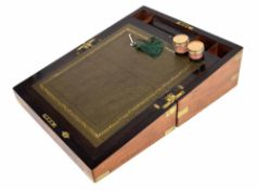 """Victorian burr walnut brass bound writing slope, with a green leather lined fitted interior, 16"""""""