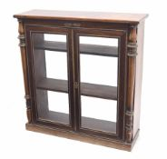 Regency rosewood pier display cabinet, the plain top over two glazed doors with brass beading