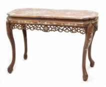 Good Chinese hardwood and mother of pearl inlaid side table, the rectangular top with bowed shaped