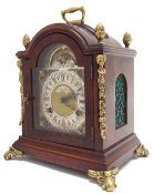 """Attractive small walnut two train bracket clock in the Georgian manner, striking on a bell, the 4.5"""""""