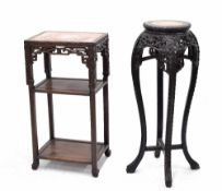 Chinese rectangular three tier carved side table, with inset red marble top over a pierced carved