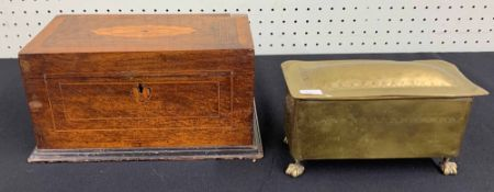 19th century inlaid tea caddy, the hinged cover (at fault) with inlaid paterae and lines,