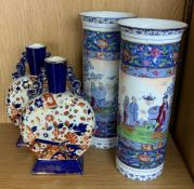 """Pair of Ridgways Old Derby Imari palette moon flask vases, 9"""" high; together with a pair of Empire"""