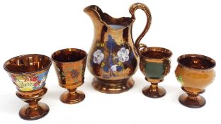 """Allertons painted copper lustre jug, 7.5"""" high; together with four Victorian copper lustre"""