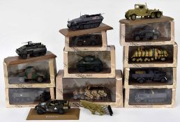 Thirteen Atlas Editions die cast scale model military vehicles