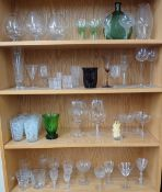 Collection of assorted drinking glasses; to include brandy glasses, liqueur, shot glasses, wine