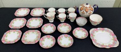 Grafton China 'Lilleshall' pattern part tea set, comprising cream jug, bowl, five cups and