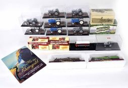 Assorted Editions Atlas die cast scale models; including nine tractors, two Great British Buses, a