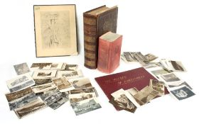 Collection of antique photographic postcards; together with a Welsh language Bible by Parch Owen