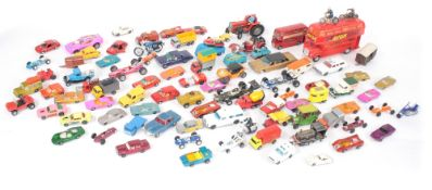 Collection of playworn toy vehicles, primarily Matchbox and Lesney