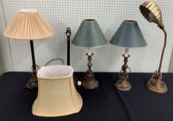 """Pair of vintage classical style metal table lamps in the form of candlesticks, 16"""" high to top of"""