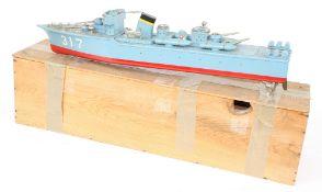 """Wooden model naval battleship, 26"""" long (af)"""