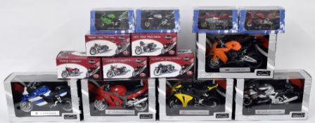 Five Editions Atlas 'Classic Motorbikes' die cast scale model motorcycles; together with four