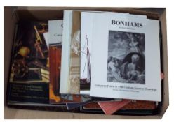 Box of assorted antiques and related auction sale catalogues