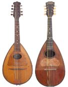 The Merrill mandolin, with engraved aluminium bowl back; together with an early 20th century pear