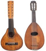 19th century bandurra, with three piece maple back, maple sides, spruce top and ebony board (at