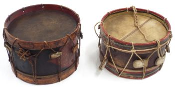 Two interesting early military drums, one with hand painted shell with insignia inscribed 'Gilmore's