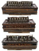 Three similar 19th century boxwood inlaid flutina accordions, all in need of some attention (3)