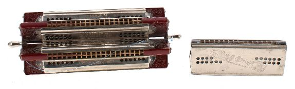Rare Hohner six-way paddle wheel harmonica; together with a Breinl tremolo concert harmonica (2)
