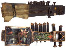 Antique Indian Sarangi; together with another smaller decorative Indian Sarangi (2)