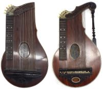 Two good German fretted table zithers, one labelled Otto Jaeger, Frankfurt, the other labelled and