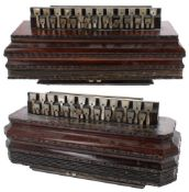 Two similar 19th century rosewood flutina accordions, both in need of some attention (2)