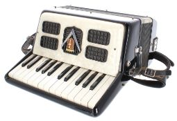 Frontalini small piano accordion with twelve bass buttons, black and mother of pearl finish, case;