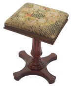 19th century mahogany music stool with square cushioned seat upon an acanthus carved support and