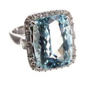 Impressive large 18ct white gold large aquamarine and diamond cluster ring, the aquamarine 10.27ct