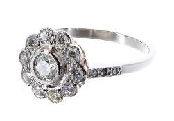 Platinum diamond cluster ring with set shoulders, 0.75ct approx, 11.5mm, 4.6gm, ring size O